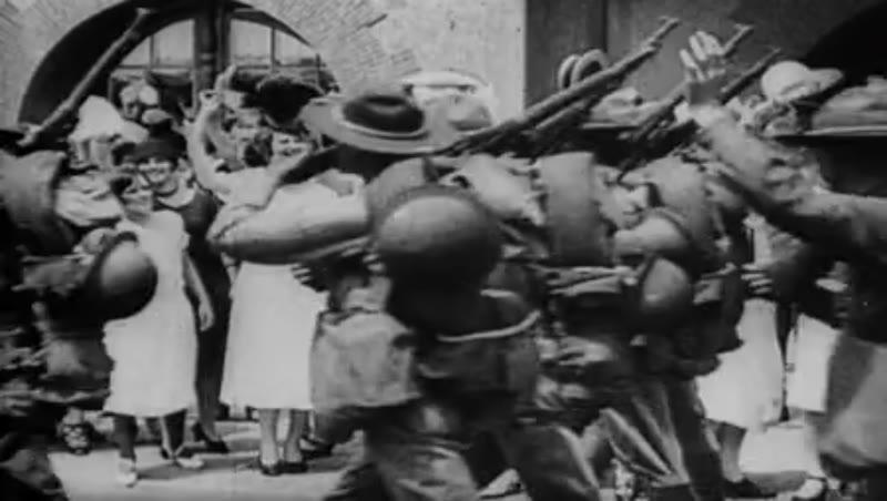 American troops departing, WWI