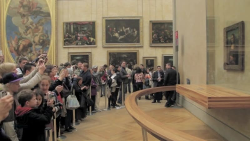 The Mona Lisa in The Louvre Museum in Paris France