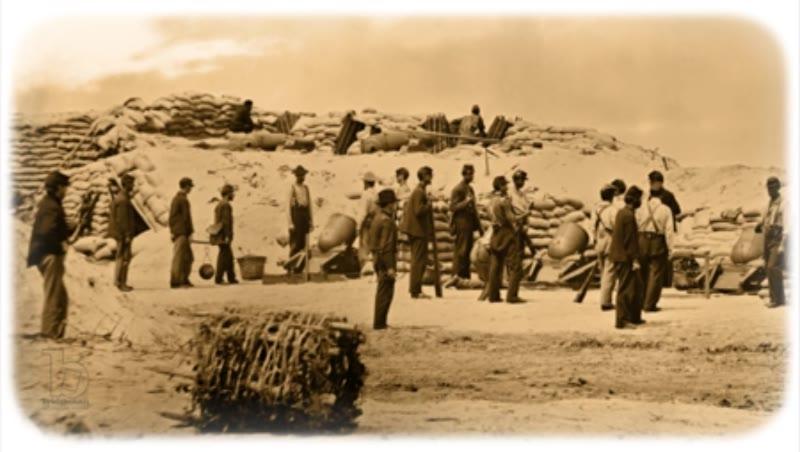 Siege Mortars, Battery Weed, Morris Island SC: Sepia