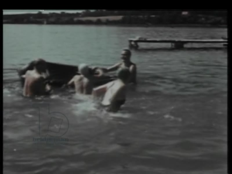 Eva Braun, family and friends at a lake. Scenes from Berghof with Hitler