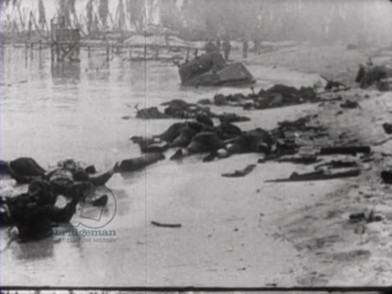 Dead soldiers on the beach of Pearl Harbor