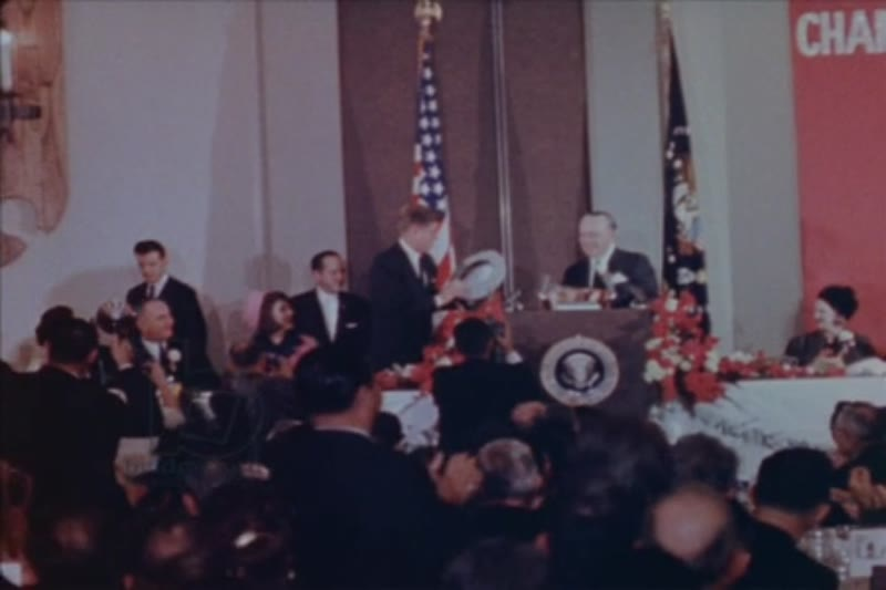John F. Kennedy greeting supporters and speaking publicly, on the day of his assassination