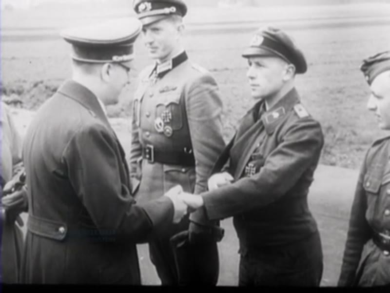 Hitler shaking the soldiers' hands in Berlin, in the years before World War II.