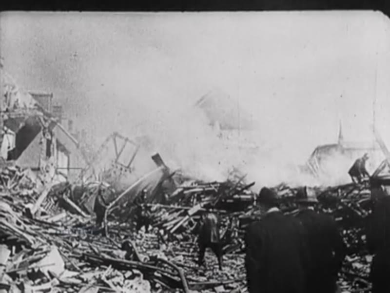 Lisieux, a place of pilgrimage, is destroyed by an English/American air raid
