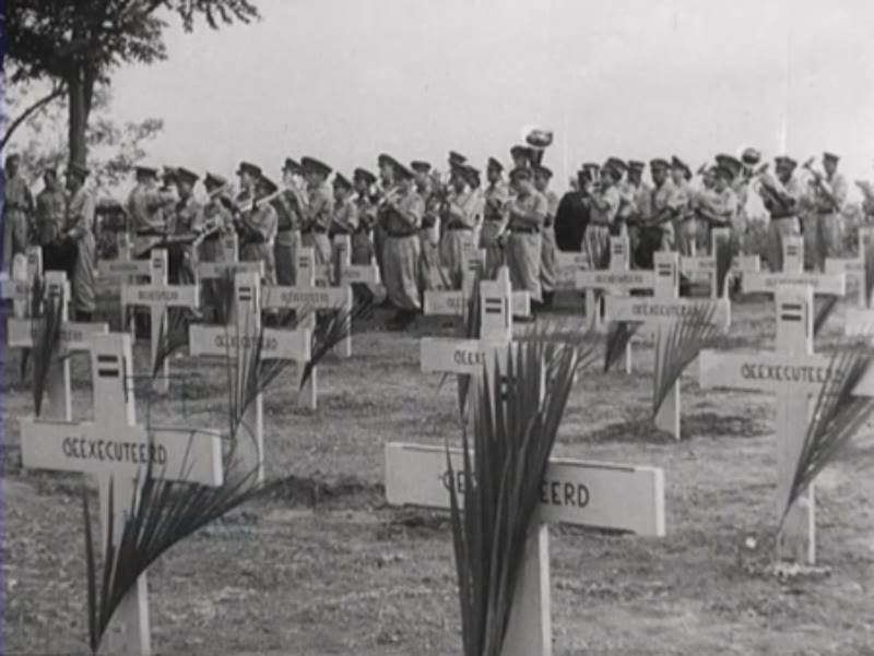 Military funeral of killed soldiers, Indonesia, 1947