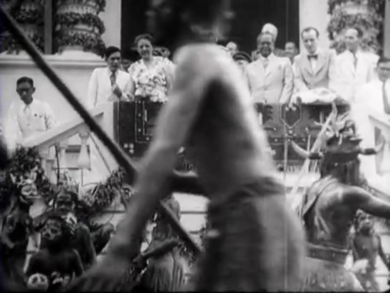 Tribal parade for Dutch authorities in Sumatra