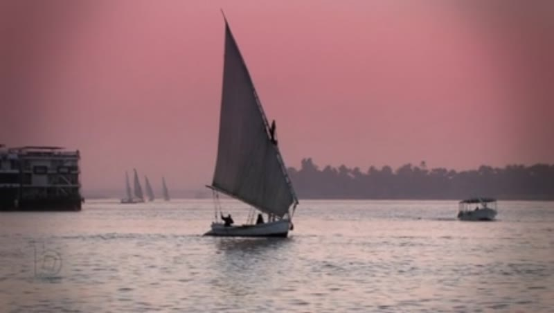 River Nile at sunset, sailing boat 1
