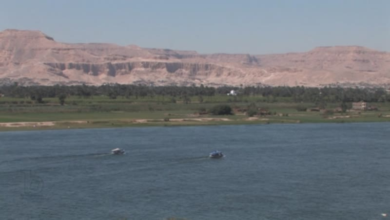 River Nile at Luxor, mountains