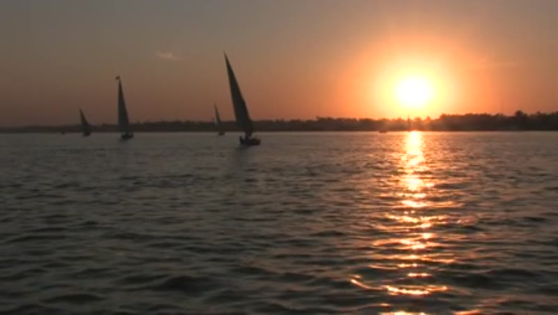 River Nile at sunset, evening