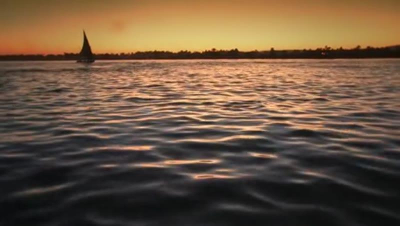 River Nile at sunset, travelling shot 1