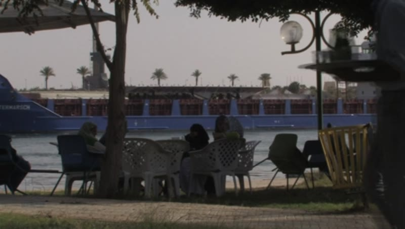 Container ship on Suez Canal at Ismailia