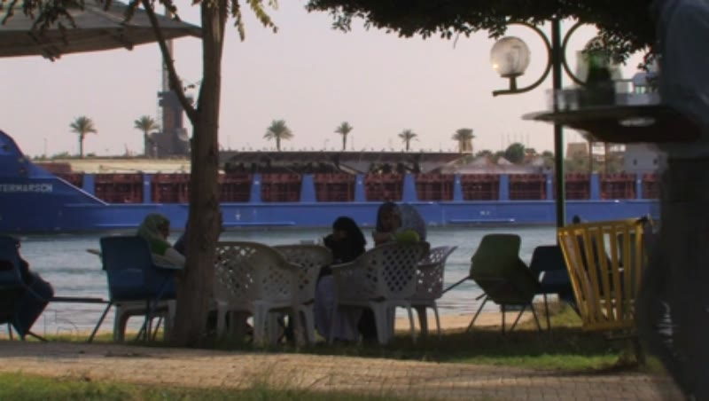 Container ship on Suez Canal at Ismailia 1