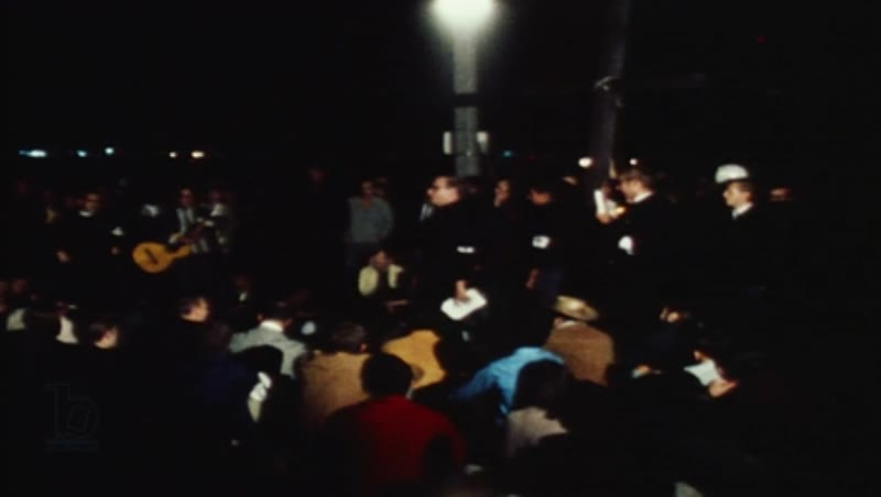 Night time demonstrations in Chicago during the Democratic National Convention, 1968