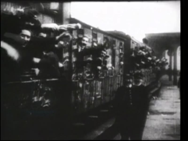 August 2nd 1914, mobilisation, departure, waving from train.