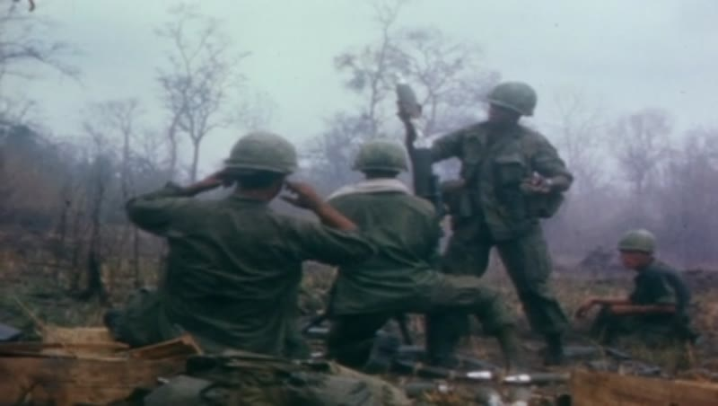 Vietnam war, Operation Junction City 1967. US soldiers digging trench. Wounded soldier.