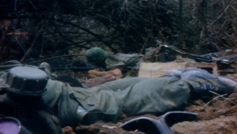 Vietnam war, Operation Junction City 1967. Wounded US soldiers, soldiers under attack.