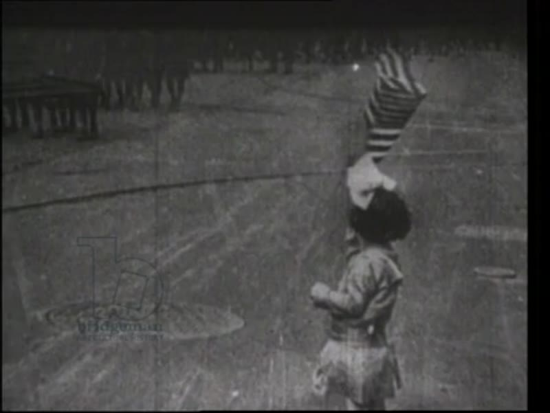1917. Woodrow Wilson, US troops parade, war entry