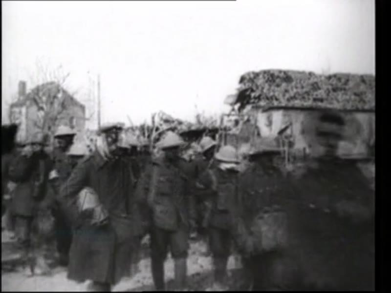 Spring Offensive begins, German troops in trench warfare, Hindenburg, Clemenceau, Foche, 1918