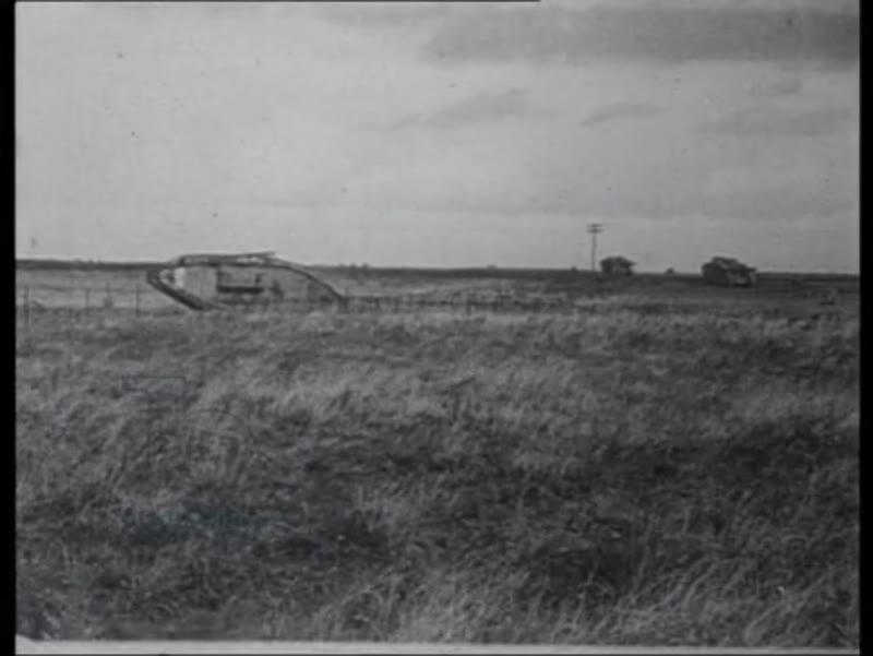 Tanks cross battlegrounds, artillery fire, France 1918