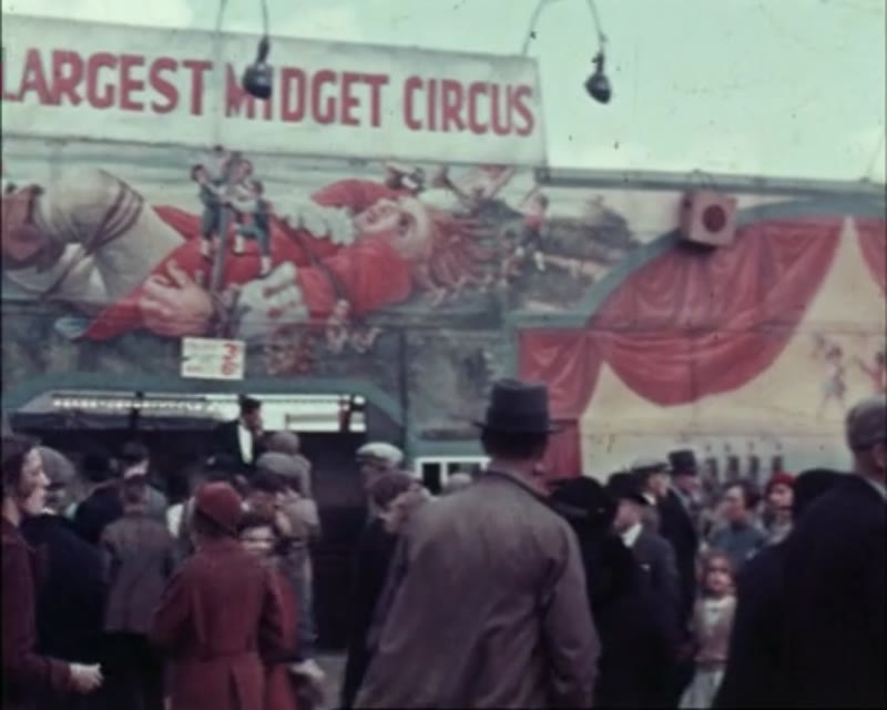 Fairground in England, 1951 - various rides and attractions