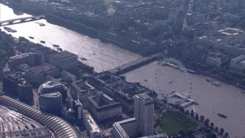 London aerial 8 - The London Eye and zoom out to panorama over Thames