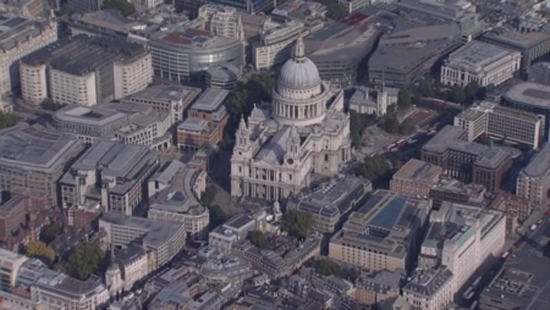 London aerial 9 - panoramic view of London with zoom in to St Paul's Cathedral