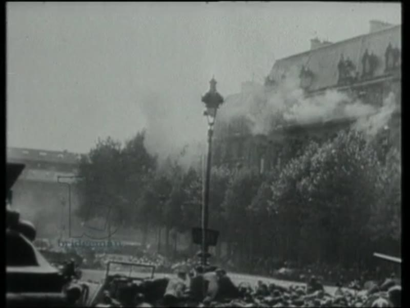 Liberation celebrations in Paris with de Gaulle, German snipers attack, Eisenhower visits, victory parade, August 1944