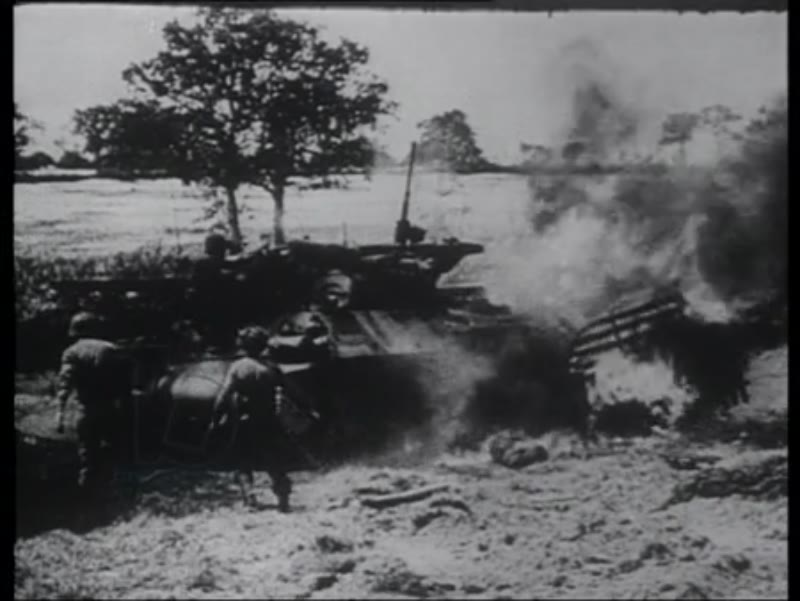 Combat in Normandy, German casualties, ruined city, 1944